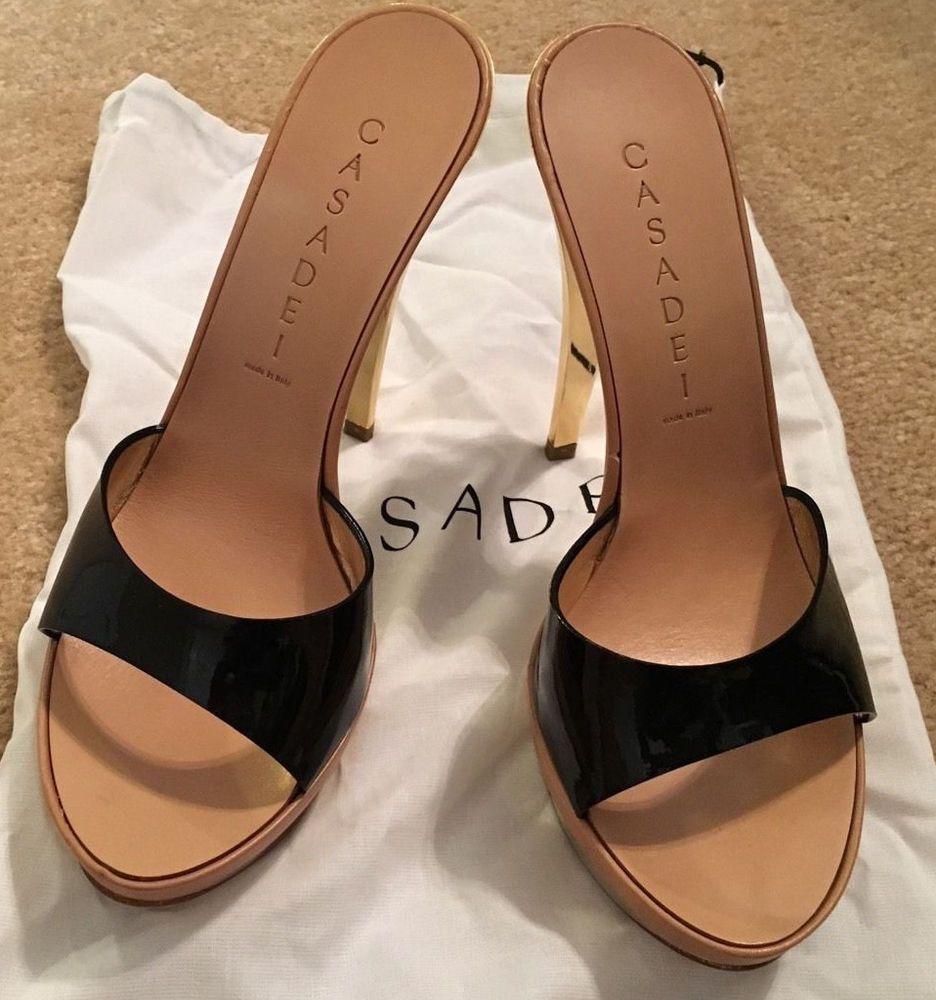 f1d86860e05a3 Casadei black patent platform high heel mule slide - size 7 #Casadei  #PlatformsWedges
