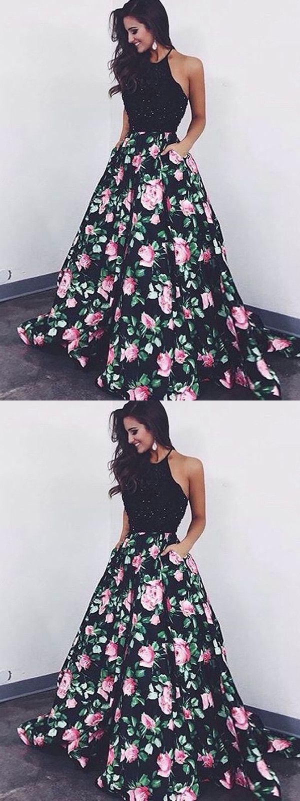 Chic a line prom dress modest beautiful black floral cheap long prom