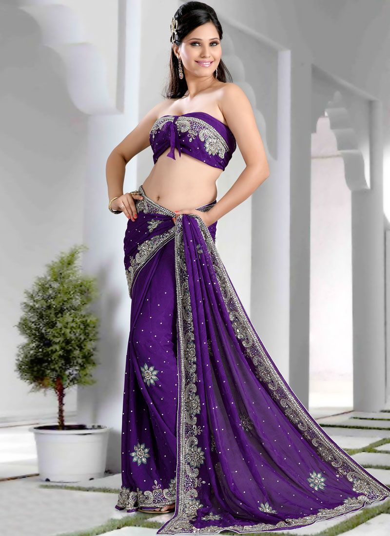 Georgette Jacquard Violet Saree | Indian outfits | Pinterest | Ojos ...