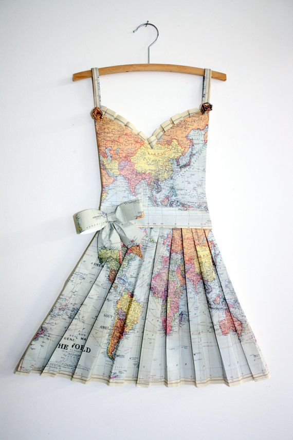 Vintage world map origami dress by awreckofbirds on etsy vintage world map origami dress by awreckofbirds on etsy gumiabroncs Image collections