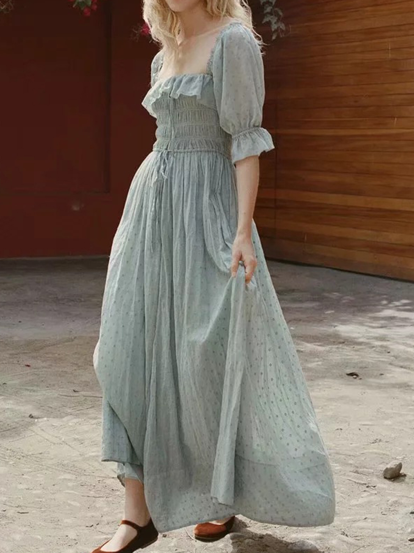 Light Green Cotton Square Neck Ruffle Trim Puff Sleeve Maxi Dress Choies Com Maxi Dress With Sleeves Maxi Dress Maxi Dress Green