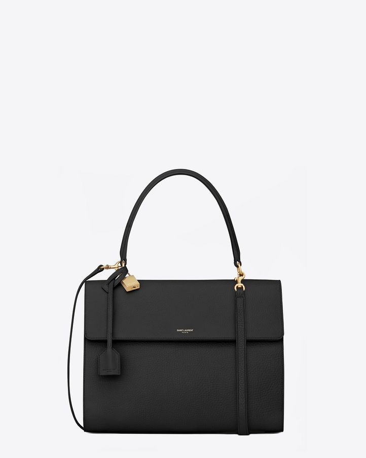e4bf0b43cd Saint Laurent MEDIUM Moujik Saint Laurent Top Handle Bag In Black Grained  Leather