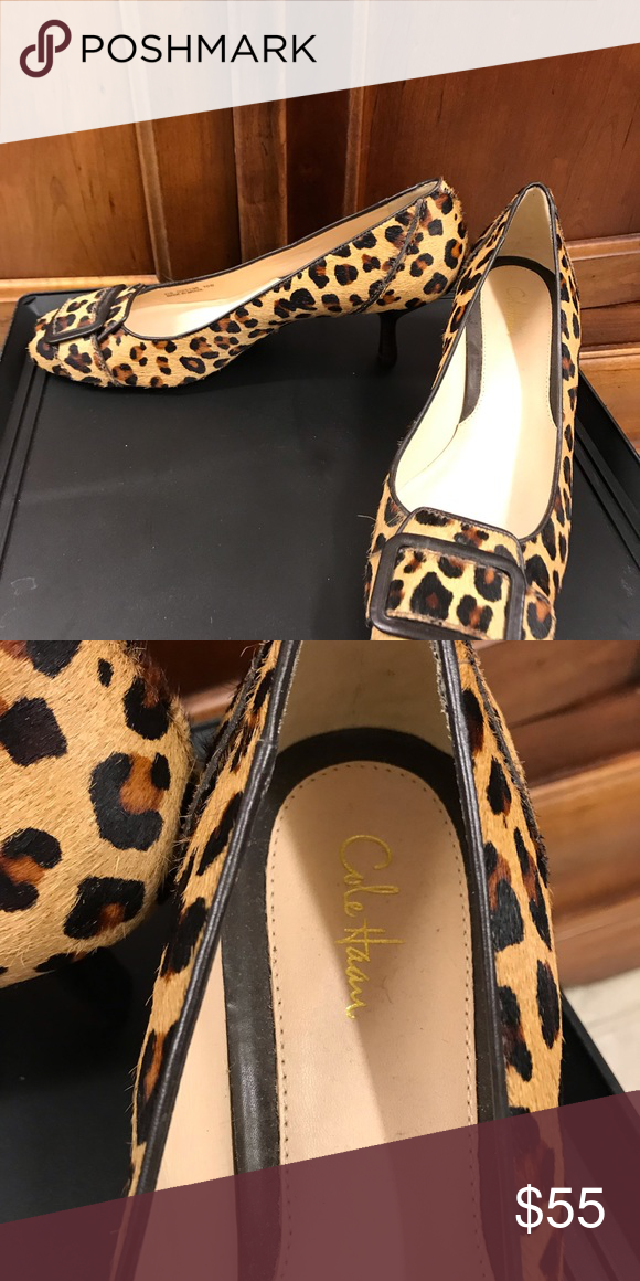 d82761c000c8 Cole Haan animal print shoes Cole Haan animal print shoes with top buckle  and kitten heels. Never worn. Cole Haan Shoes