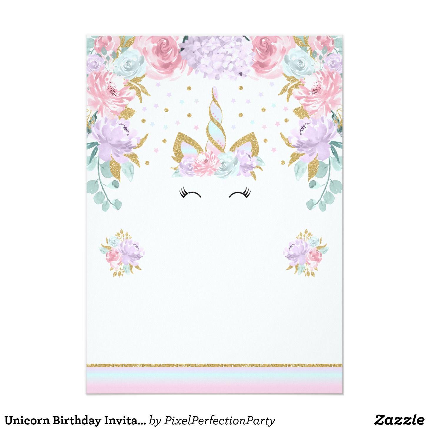 Unicorn Birthday Invitation Pink Gold Unicorn | Magical | Pinterest ...