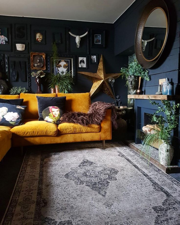 i love the colour of that couch together with the wall colour #darkflooring