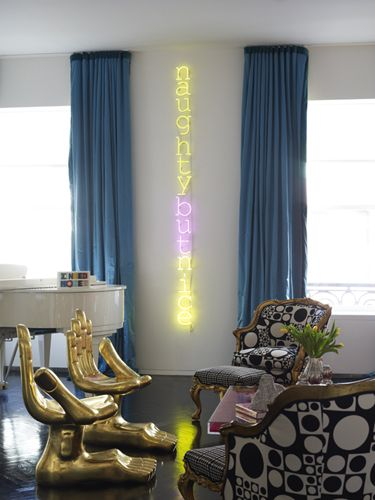 jonathan adler living room interior design decor ideas neon