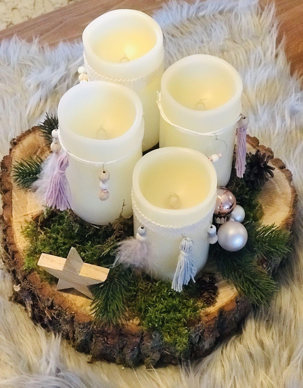 Adventskranz auf Baumscheibe, Scandi-Weihnachten, Boho-Weihnachten, Goldengel.di…,  #Advent…