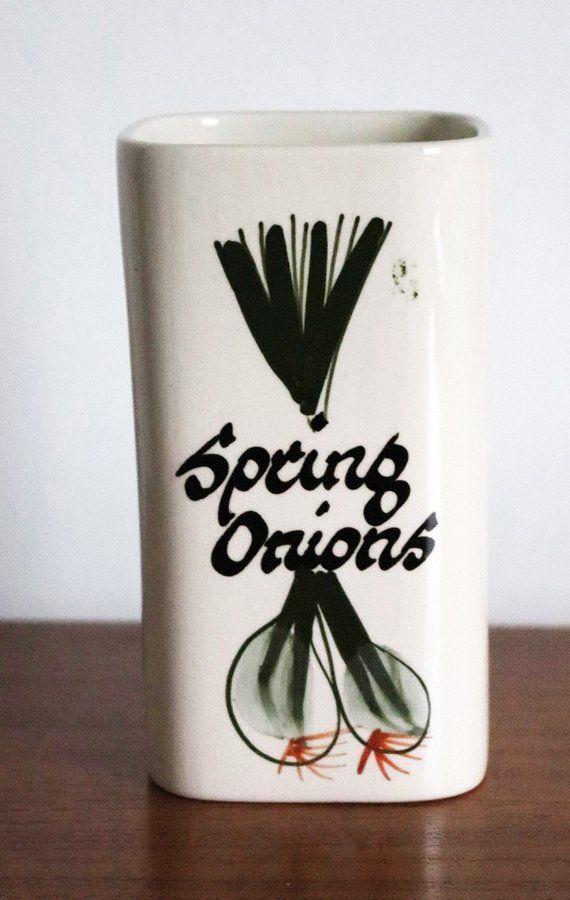 Vintage Toni Raymond Pottery Devon Spring Onion Serving Holder Pot