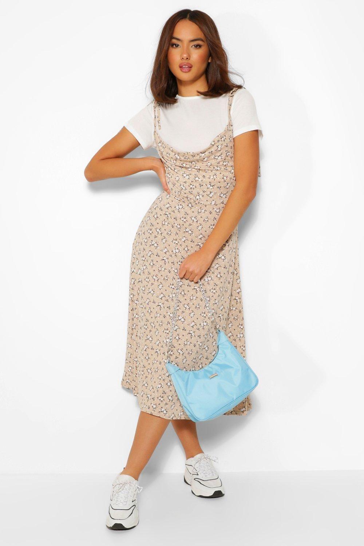 Short Sleeve T Shirt Ditsy Floral Midi Slip Dress Boohoo Slip Dress Outfit Shirt Under Dress T Shirt Under Dress [ 1500 x 1000 Pixel ]