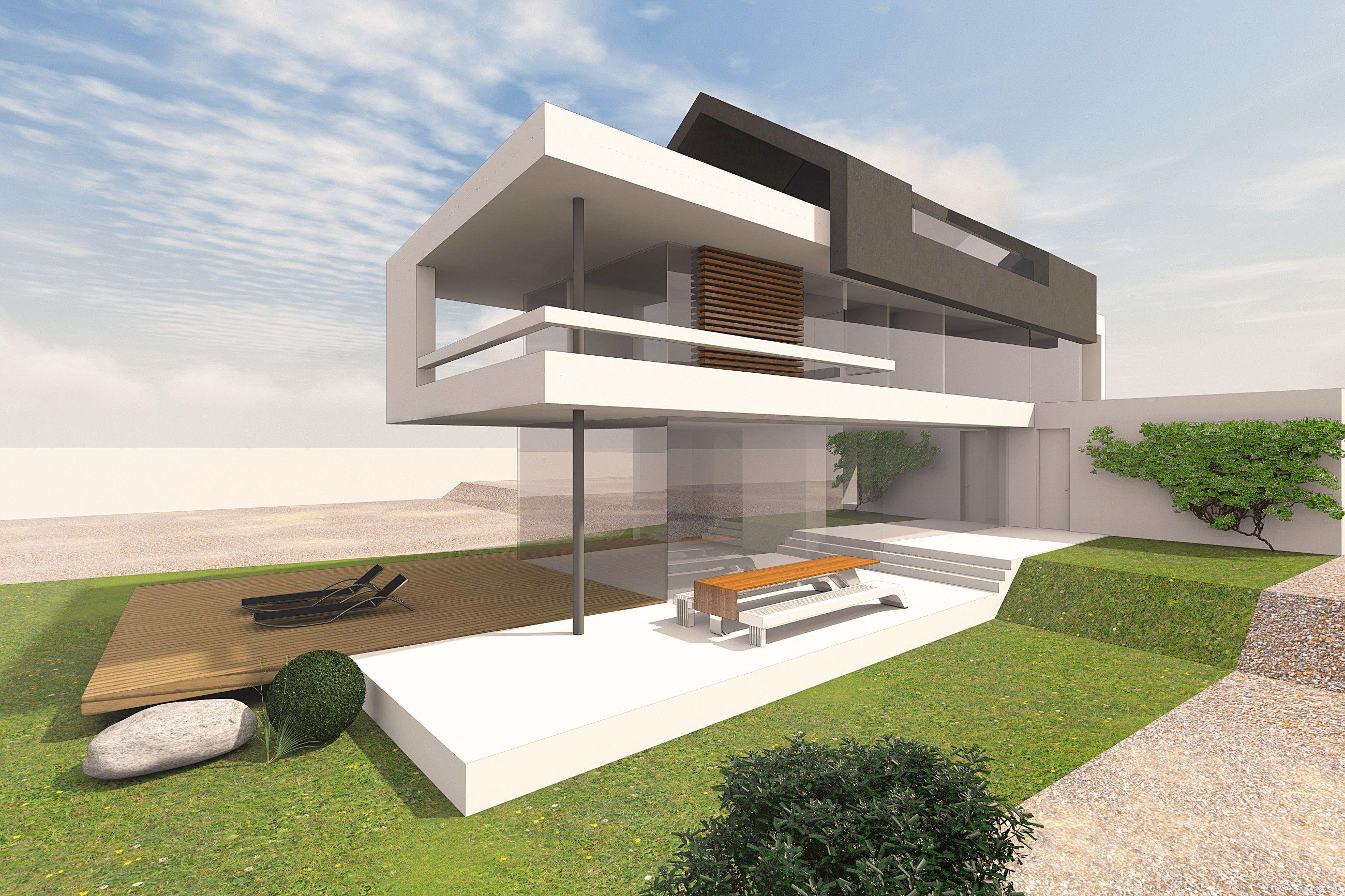 modernes wohnhaus mit satteldach entwurf f r ein schmales grundst ck mit konservativem b plan. Black Bedroom Furniture Sets. Home Design Ideas
