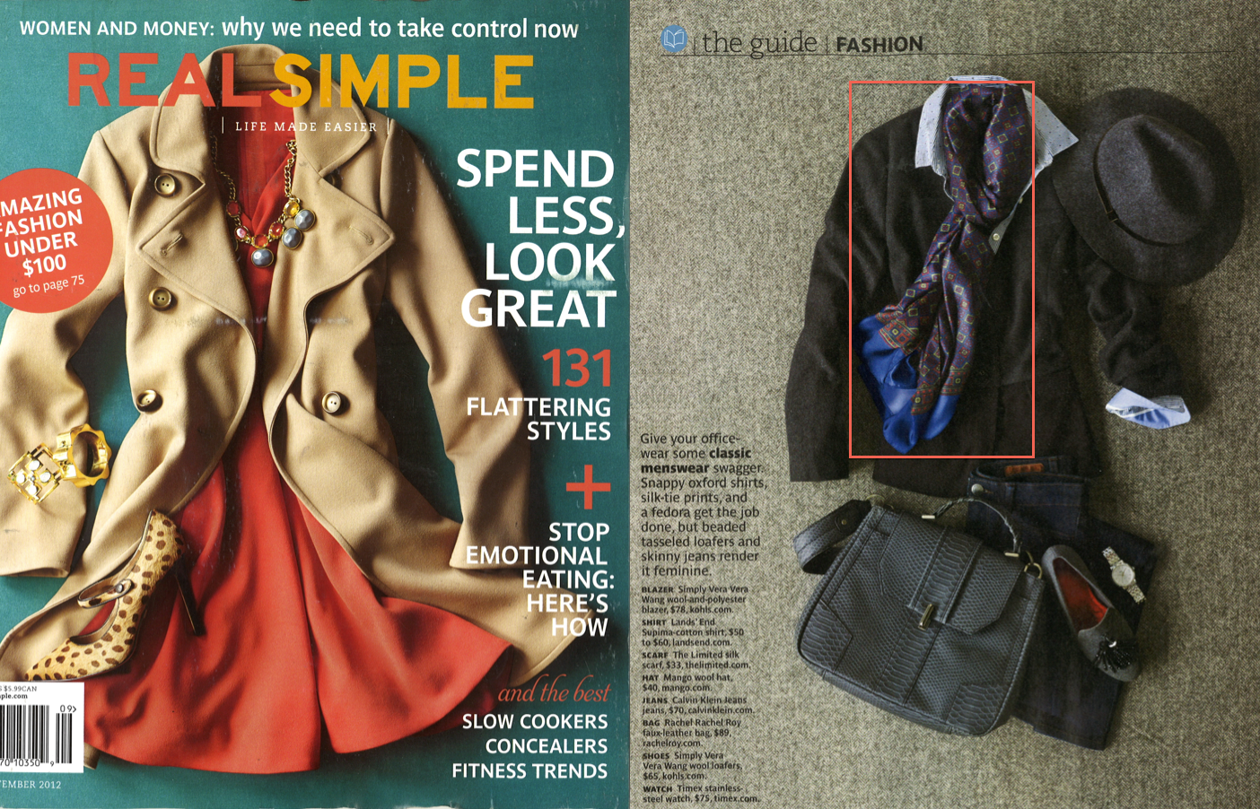 The Limited's Silk Scarf featured in the September issue of Real Simple