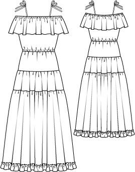 Tiered Off the Shoulder Maxi Dress 07/2014 #121 – Sewing Patterns | BurdaStyle.com