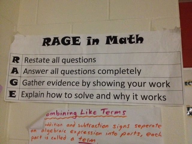 Great example of what the RAGE (restate, answer, give evidence, explain) model looks like in a math classroom
