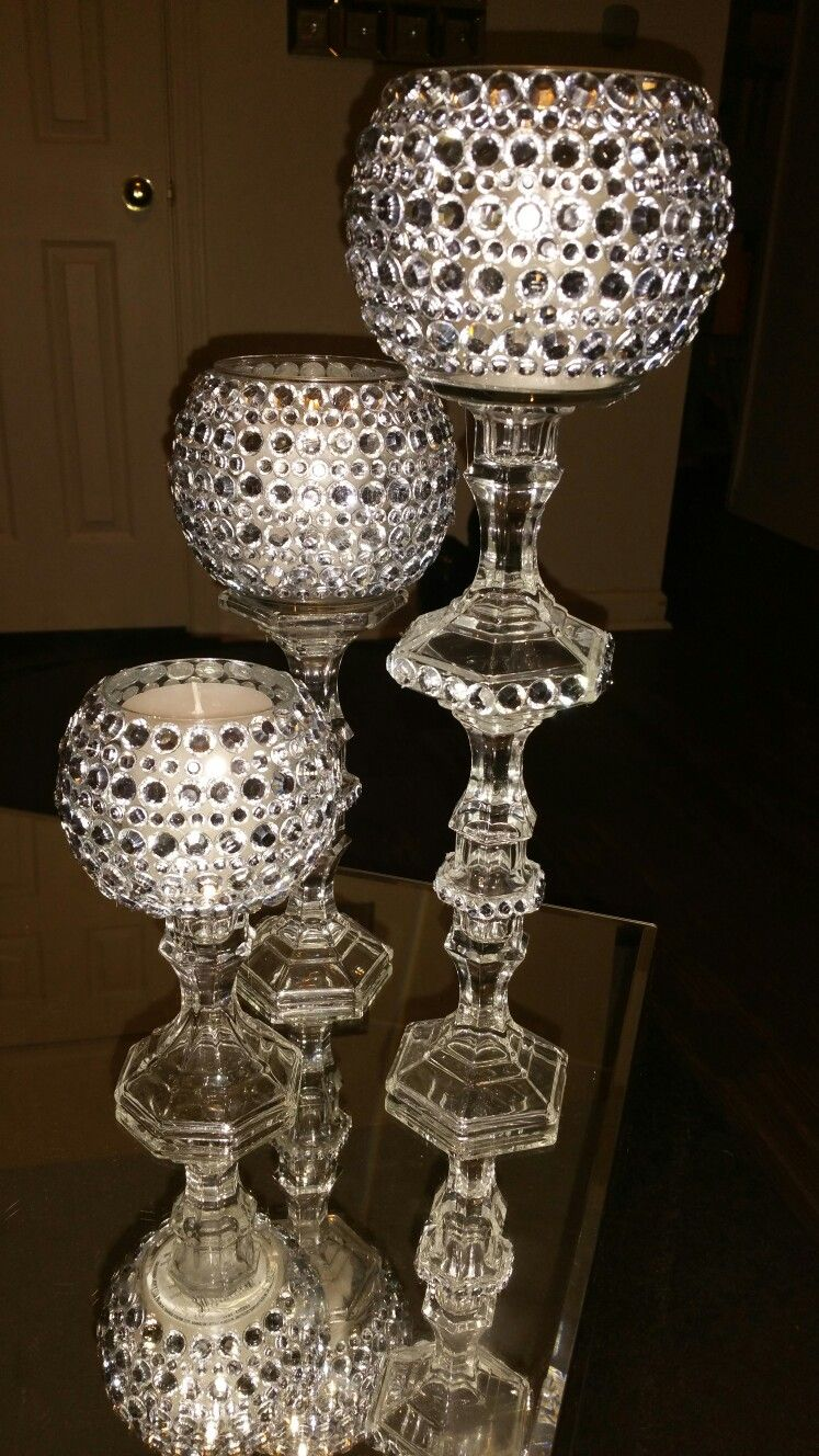 My diy candle holders only using dollar tree products... total spent $9.00  including - DIY Wedding Centerpieces Dollar Tree Candles Holders And Glasses