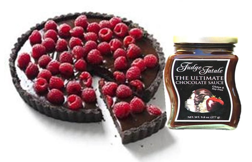Chocolate raspberry or macadamia nut tartwith the ultimate gluten & soy free chocolate sauce