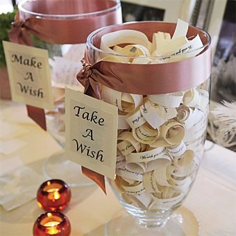 "Wishes  creative spin on the ""well wishes"" tradition, offering a place for guests to leave notes for the couple as well as a jar of wishes they wrote for their guests"