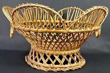 Antique Vintage Wicker Basket Fruit Bowl Centerpiece Daisy Shape Handle Pedestal