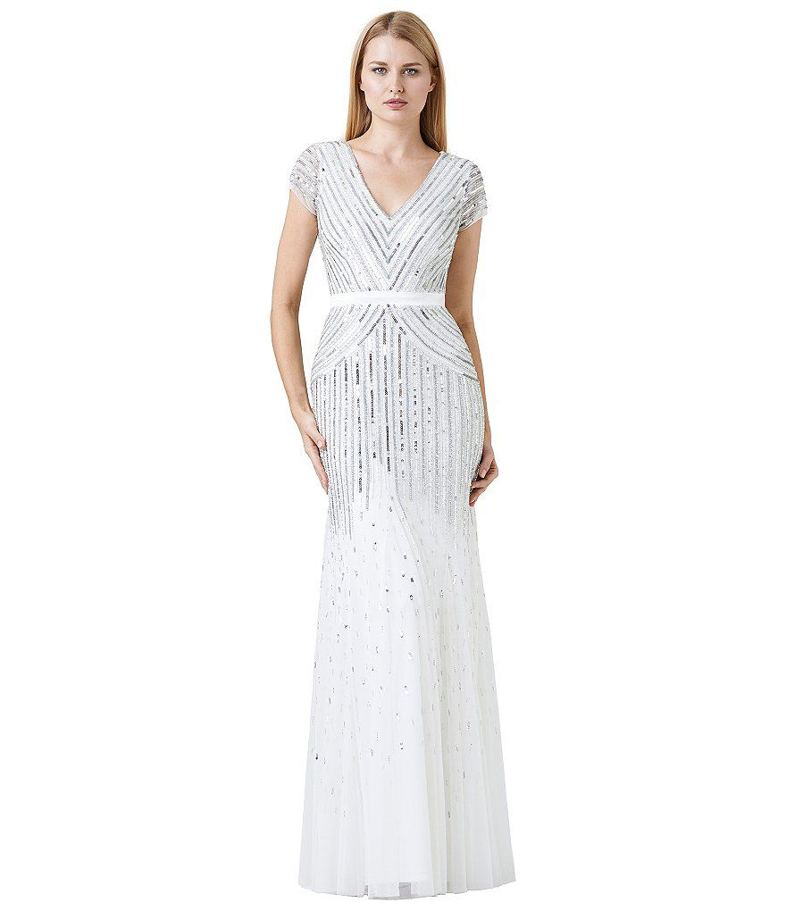 Ivory:Adrianna Papell Cap-Sleeve Beaded Gown