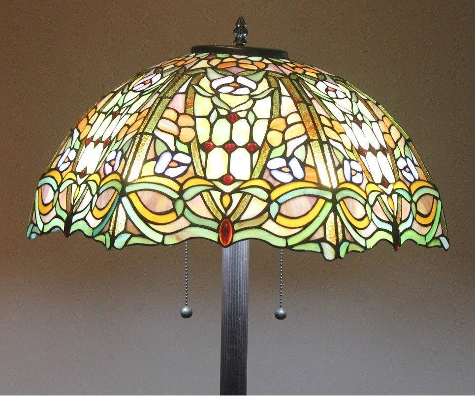 "Tiffany Style Lamp Shades Mesmerizing Tiffany Style Stained Glass Floor Lamp ""regency"" W 20"" Shade 1000 Design Inspiration"