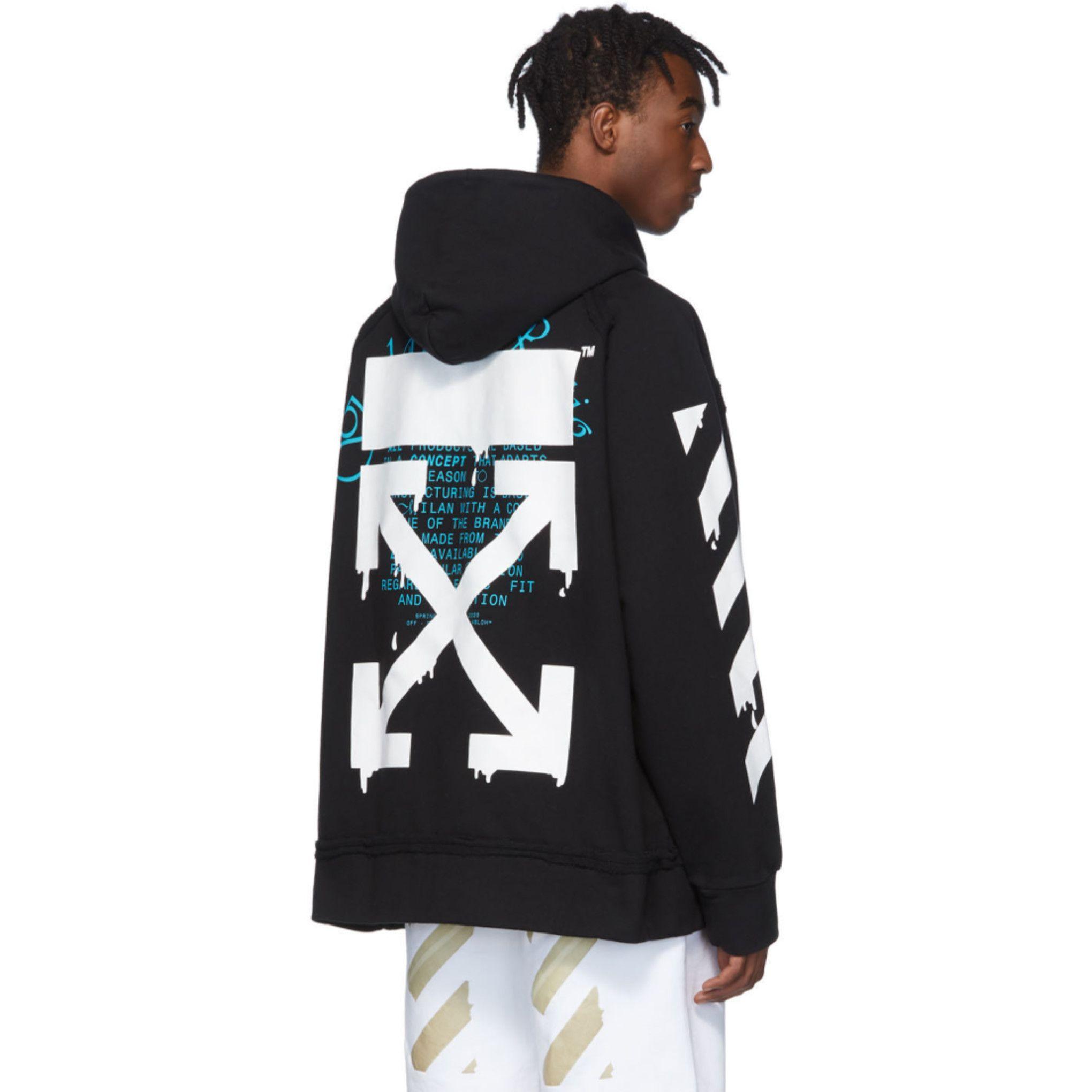 Off White Black Dripping Arrows Hoodie Ssense Athletic Jacket Puma Jacket Hoodies [ 2040 x 2040 Pixel ]