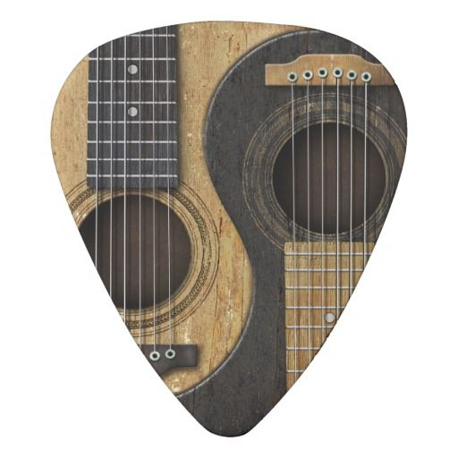 Old And Worn Acoustic Guitars Yin Yang Pick