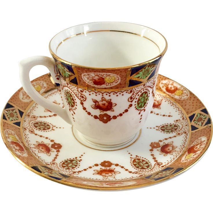 This beautiful little Cobalt Blue and Red Floral Imari Style Demitasse Cup and Saucer was made by Colclough Bone China. The intricate Imari style