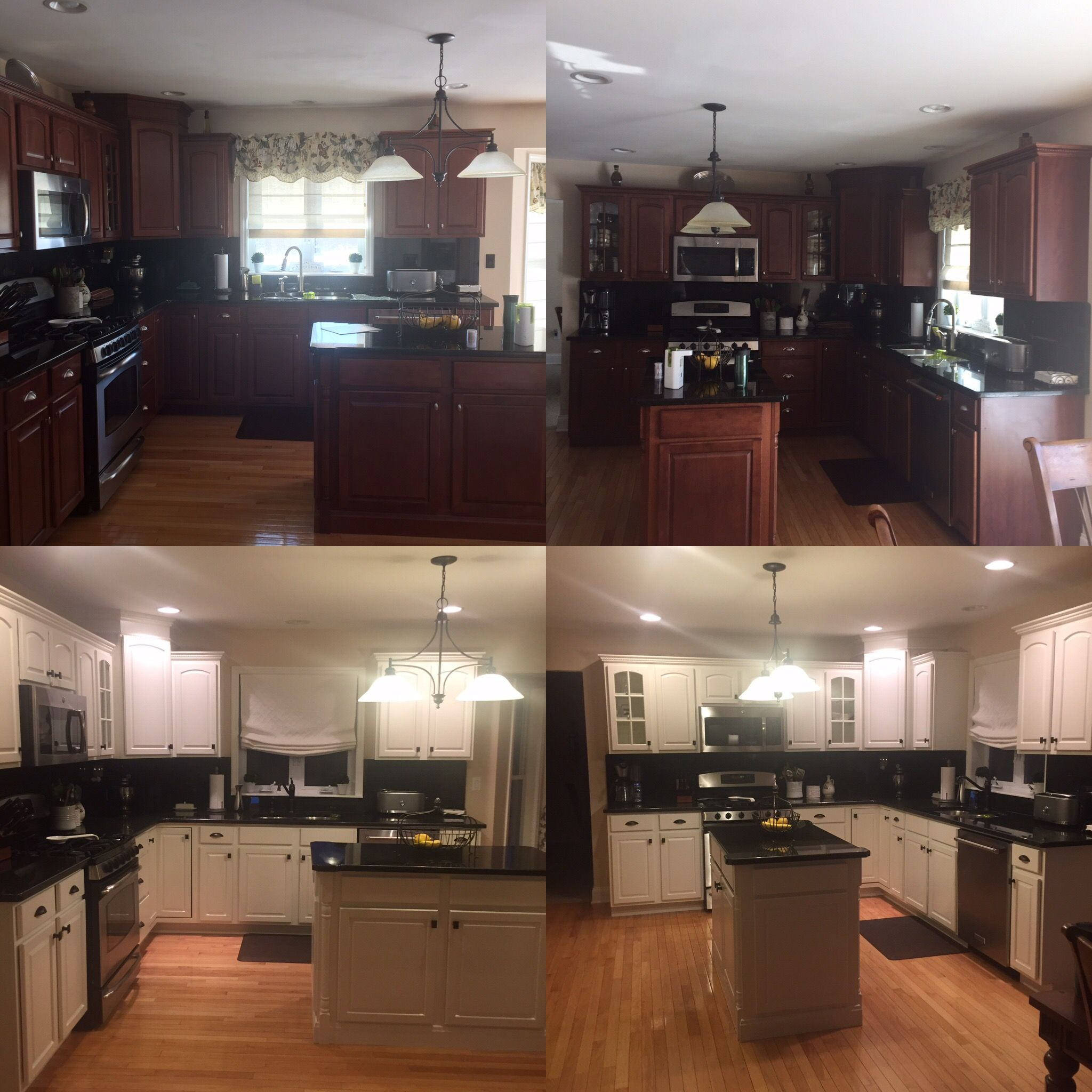 Cherry Kitchen Cabinets Painted White Before and After. So ...