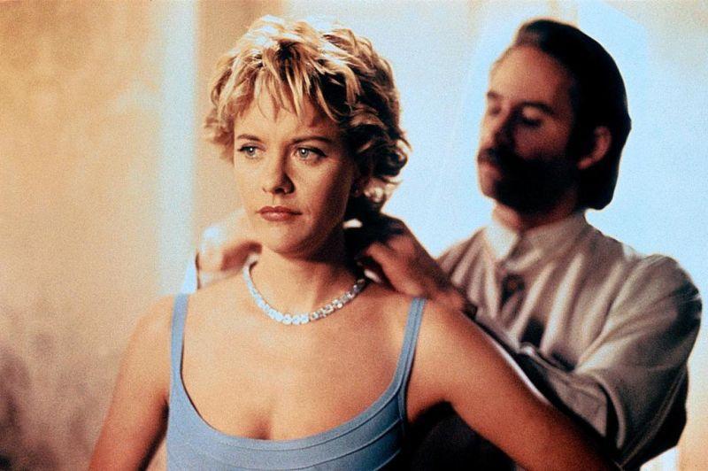 36ec18bf0a28 Meg Ryan in French Kiss in that slate blue gray dress | Classic ...