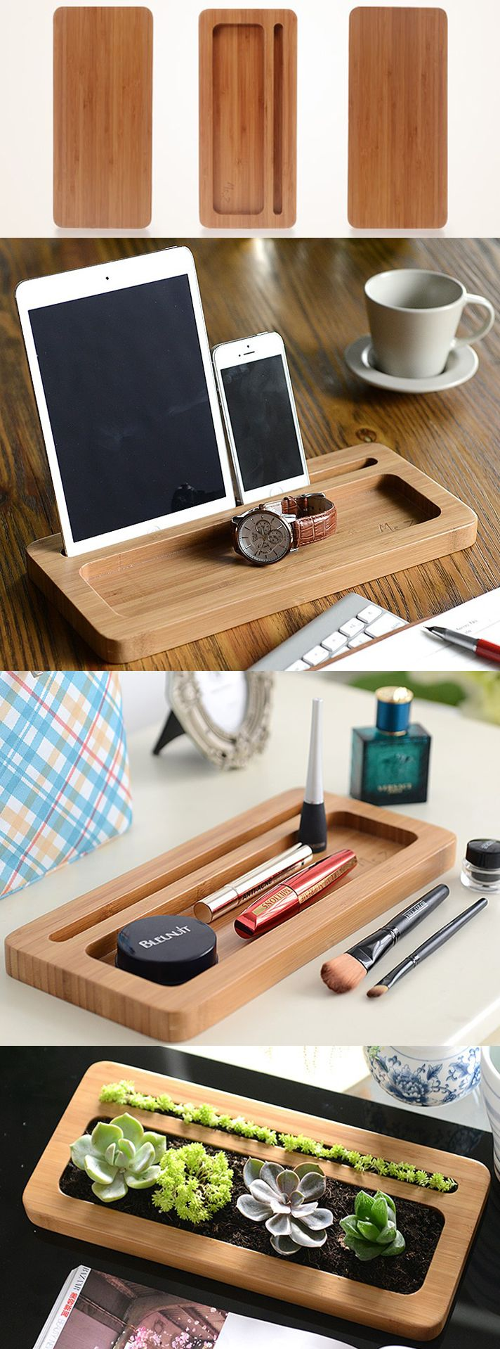 Bamboo Wooden Office Desk Stationery Organizer Tray Pen Pencil