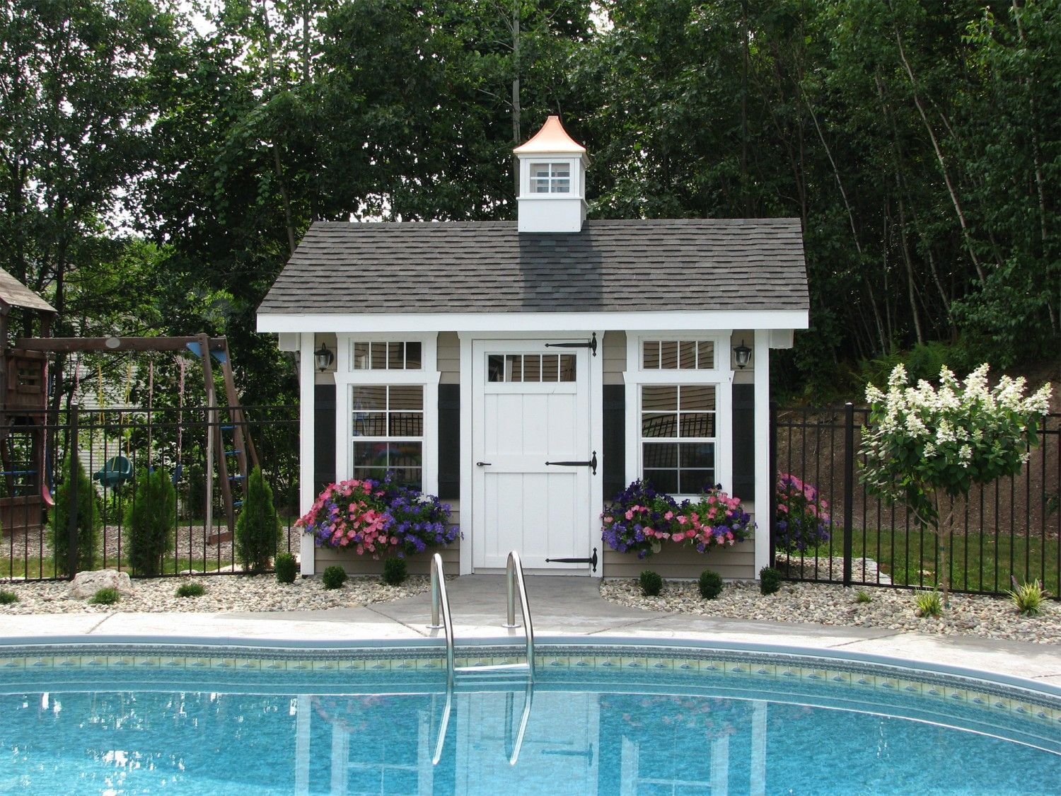sheds entry pool hideaways way wood of enclosure georgia infinity fence pools and shed equipment with llc