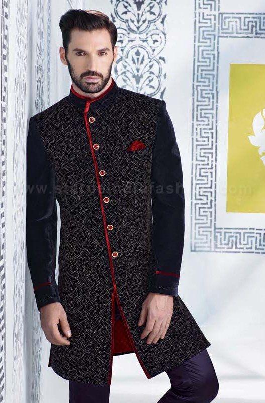 Sherwani For Men Uk Asian Clothes Wedding Indian Velvet Indo Western Black Mens