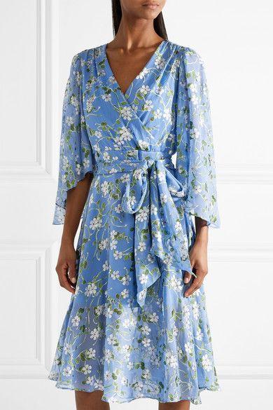 aa0bb7f4043bf Alice Olivia - Halsey Belted Floral-print Devoré-chiffon Dress - Sky blue