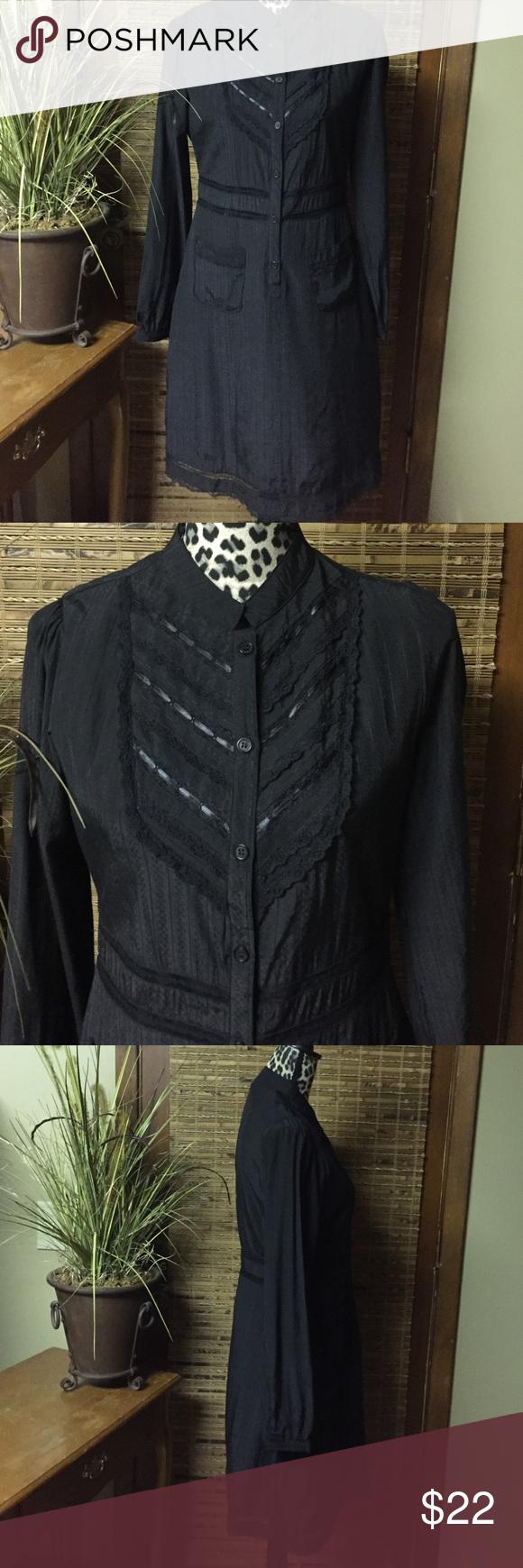 Salt & Pepper Dress Size Large black Salt & Pepper Dress.  Beautiful lace & ribbon detail.  Fully lined.  60% cotton, 40% polyester.  Item# D163. Salt & Pepper Dresses
