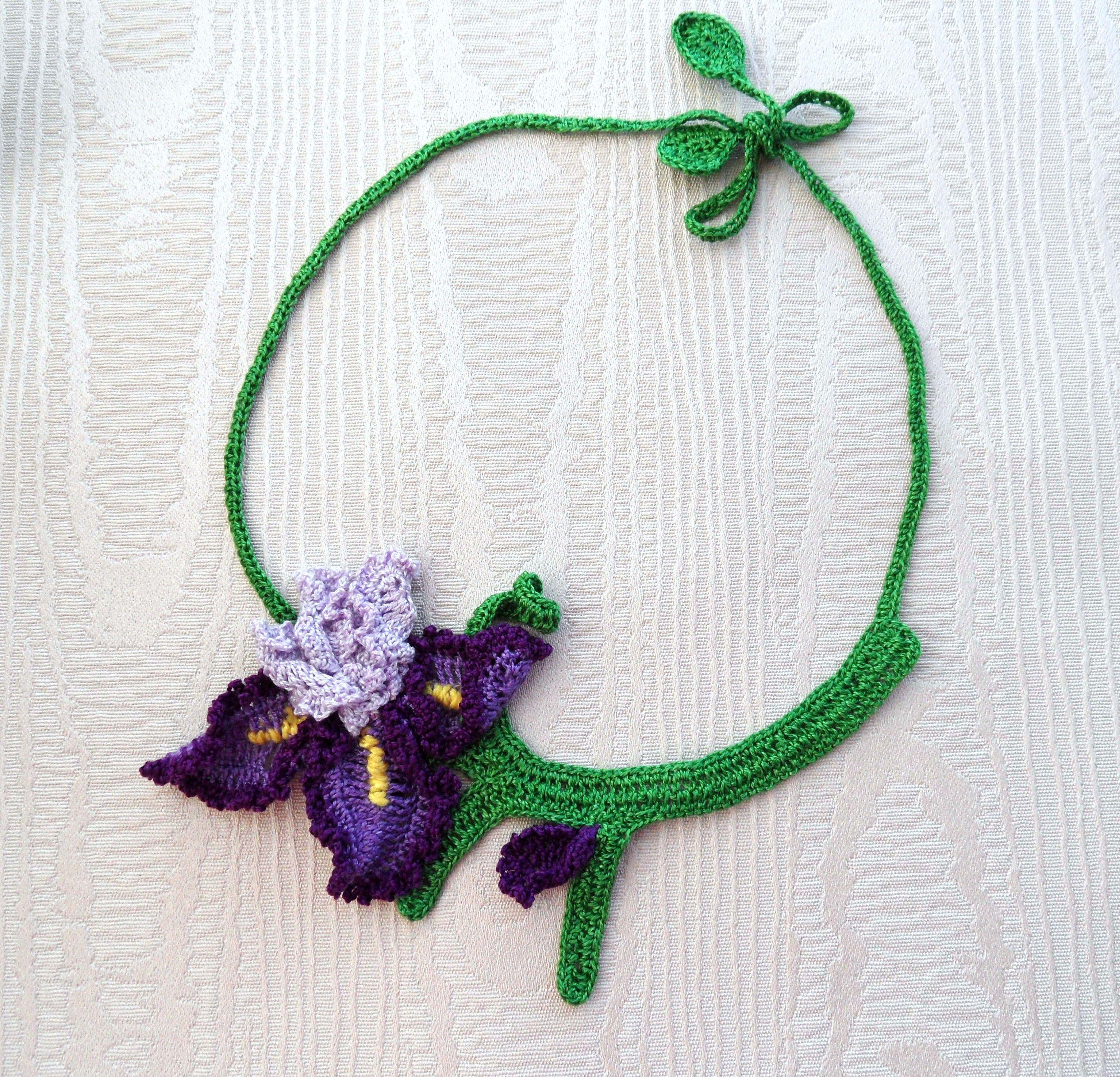 Crochet Iris Necklace Httpetsyshopcraftsbysigitaref