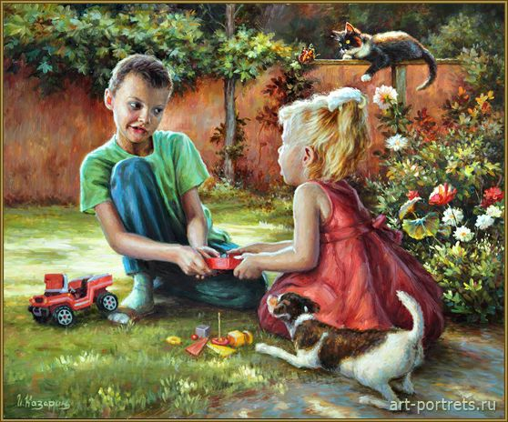 Painting children play in the garden 2015 playtime for Oil painting for kids