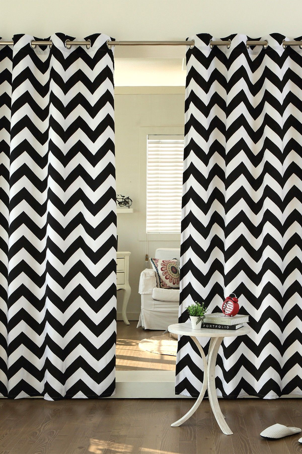 of bedroom top cravate curtain black and pink chevron size curtains full ideas white