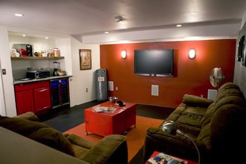 A Man Cave With An Accent Wall Man Cave Living Room Man Room Man Cave Design