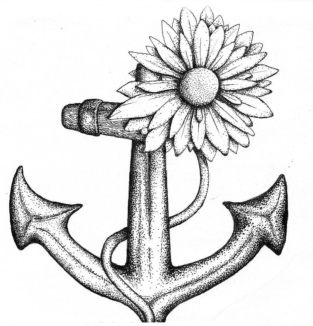 Daisy and anchor Daisy chain tattoo, Daisy tattoo