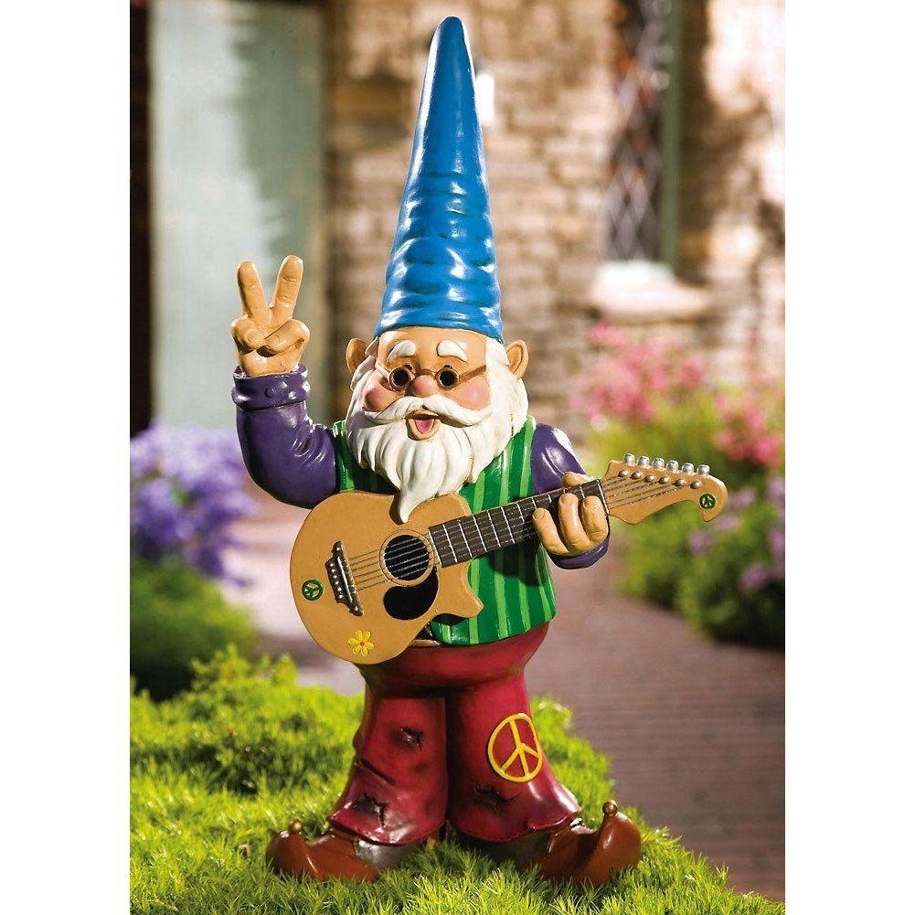 Amazon.com: Peaceful Hippy Garden Gnome W/ Guitar & Bellbottom By ...