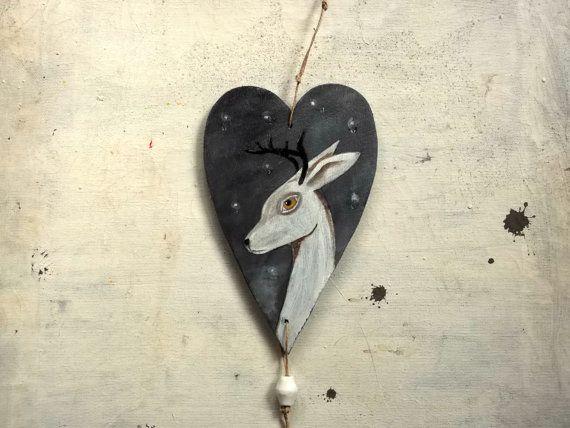 hand painted wooden heart  snow deer  original painting by vumap