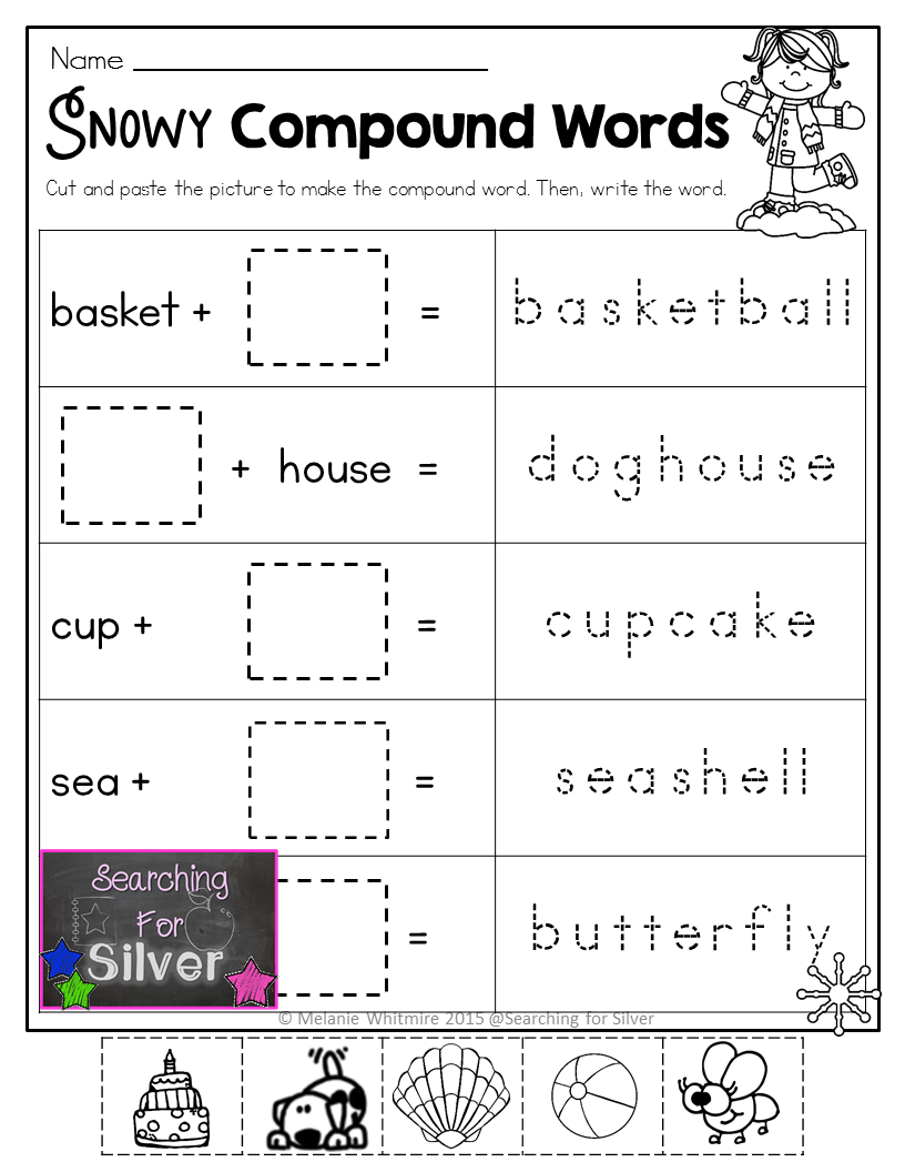 Compound Words And Other Winter No Prep First Grade Printables Compound Words Compound Words Worksheets Compound Words Activities [ 1056 x 816 Pixel ]