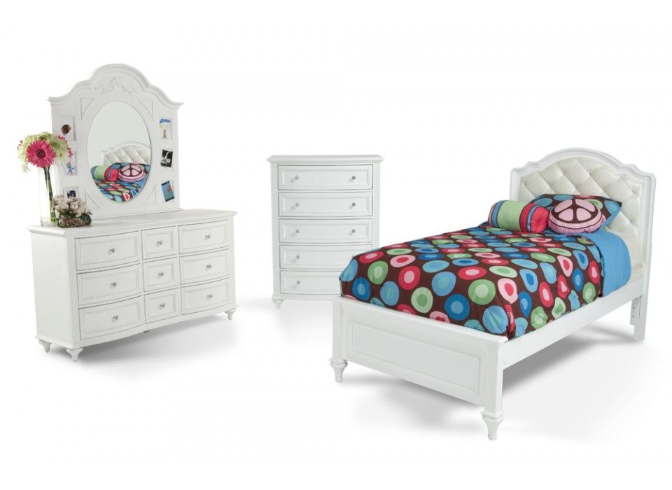 Madelyn 7 piece upholstered twin youth bedroom set bob 39 s - Wholesale childrens bedroom furniture ...