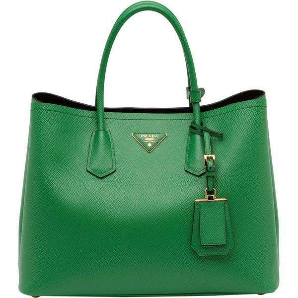 Prada Saffiano Cuir Double Bag, Green (Verde) found on Polyvore