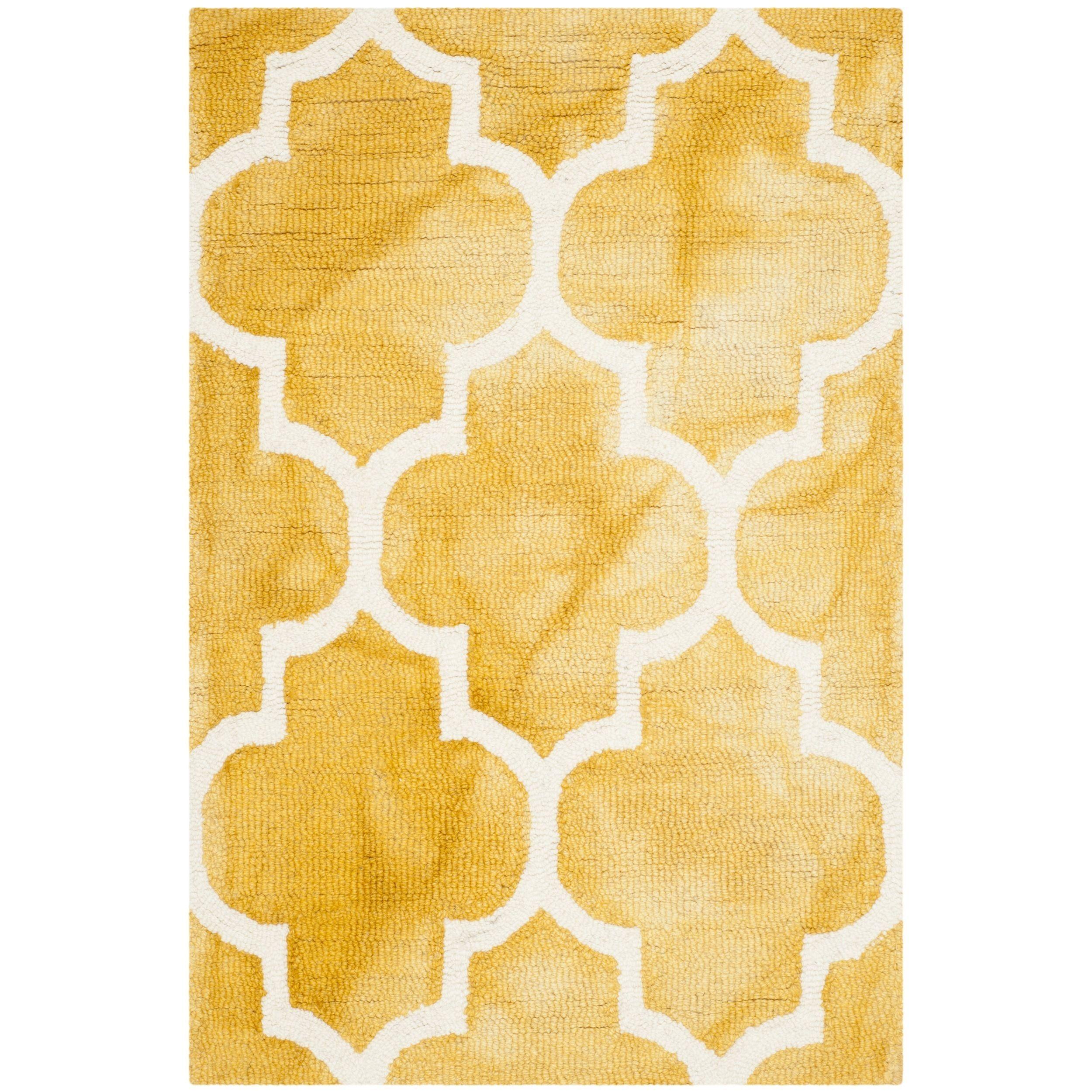 Safavieh handmade dip dye watercolor vintage gold ivory wool rug