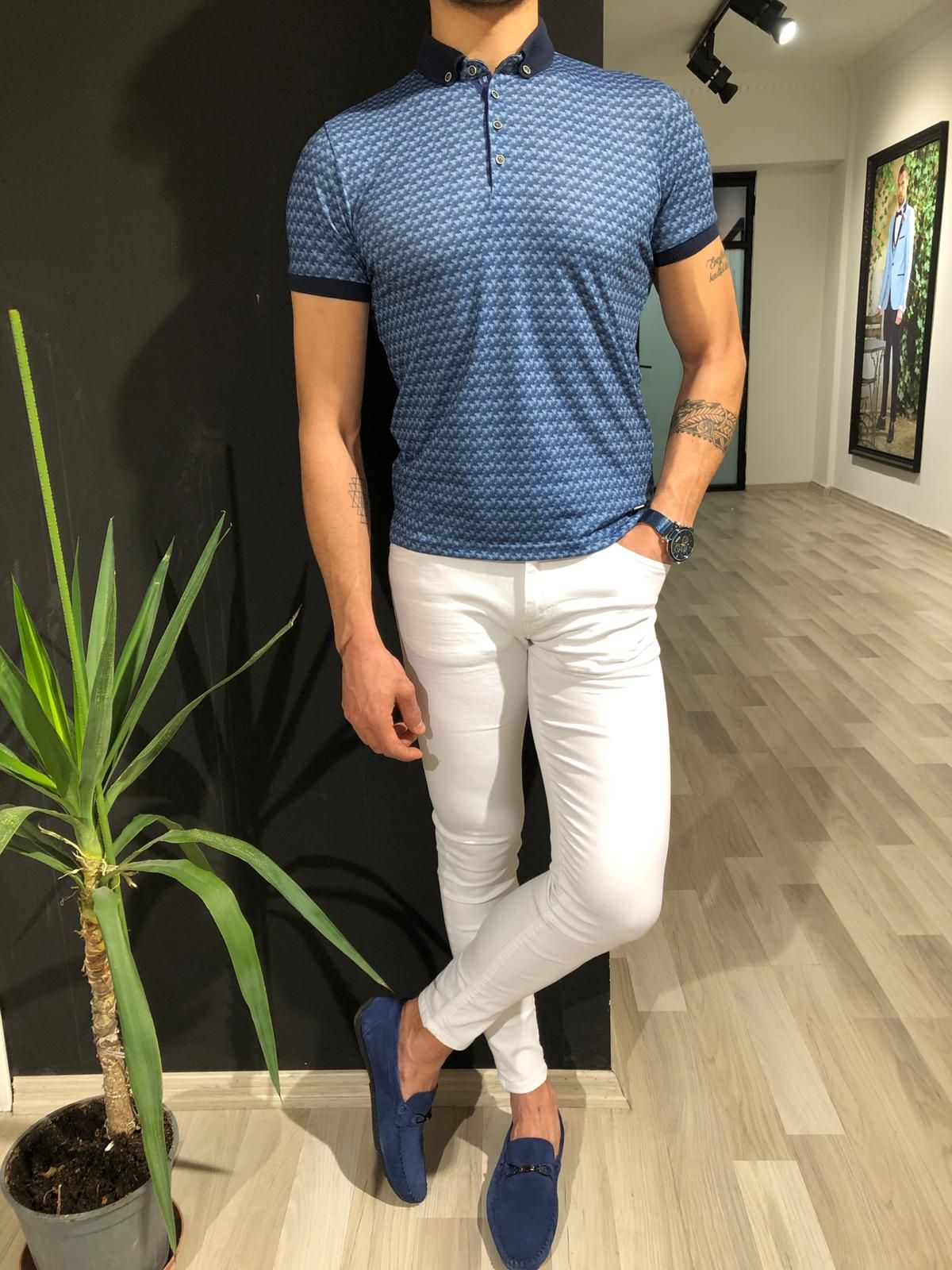 Buy navy blue slim fit collar tshirt by with