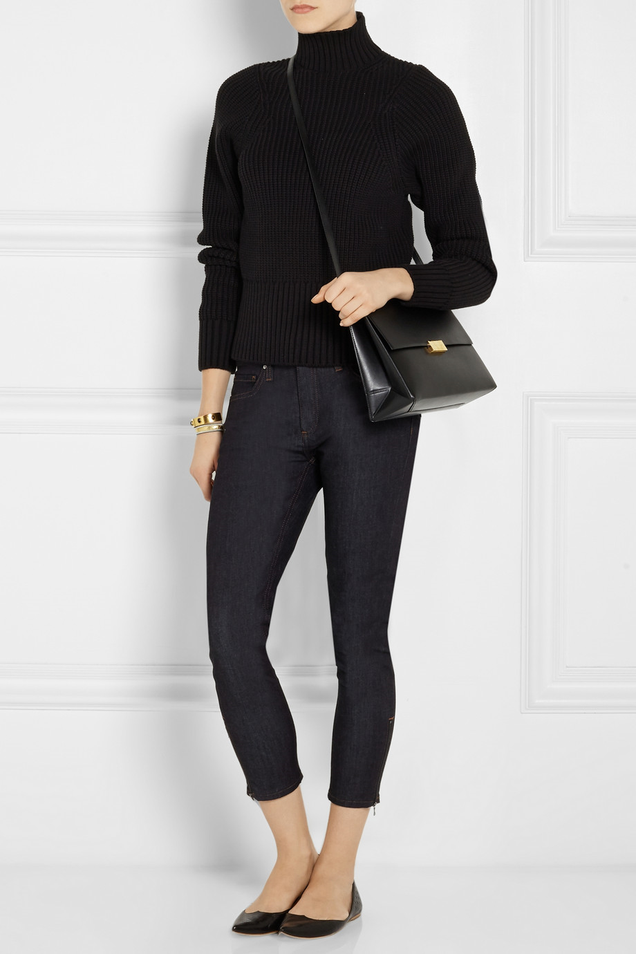 Victoria Beckham Ribbed cotton-blend turtleneck sweater and ...