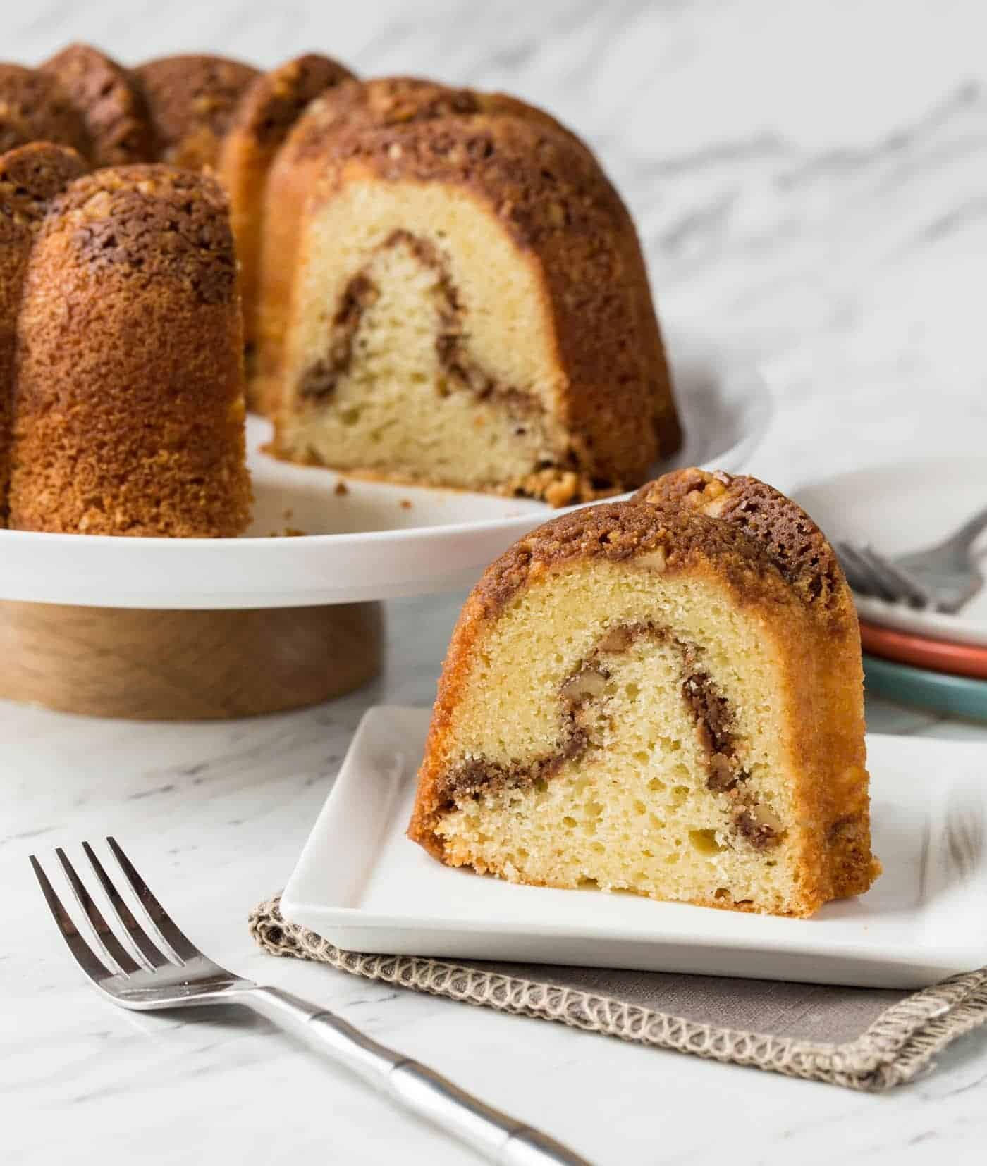 Grandma's Sour Cream Coffee Cake Garnish with Lemon in 2020