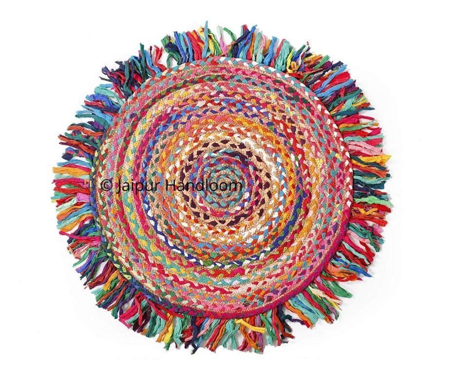 Round Rug Reversible Chindi Jute Rug With Fringes Braided Rag Rug Vintage Area Carpet Braided Rag Rugs Round Braided Rug Jute Rug