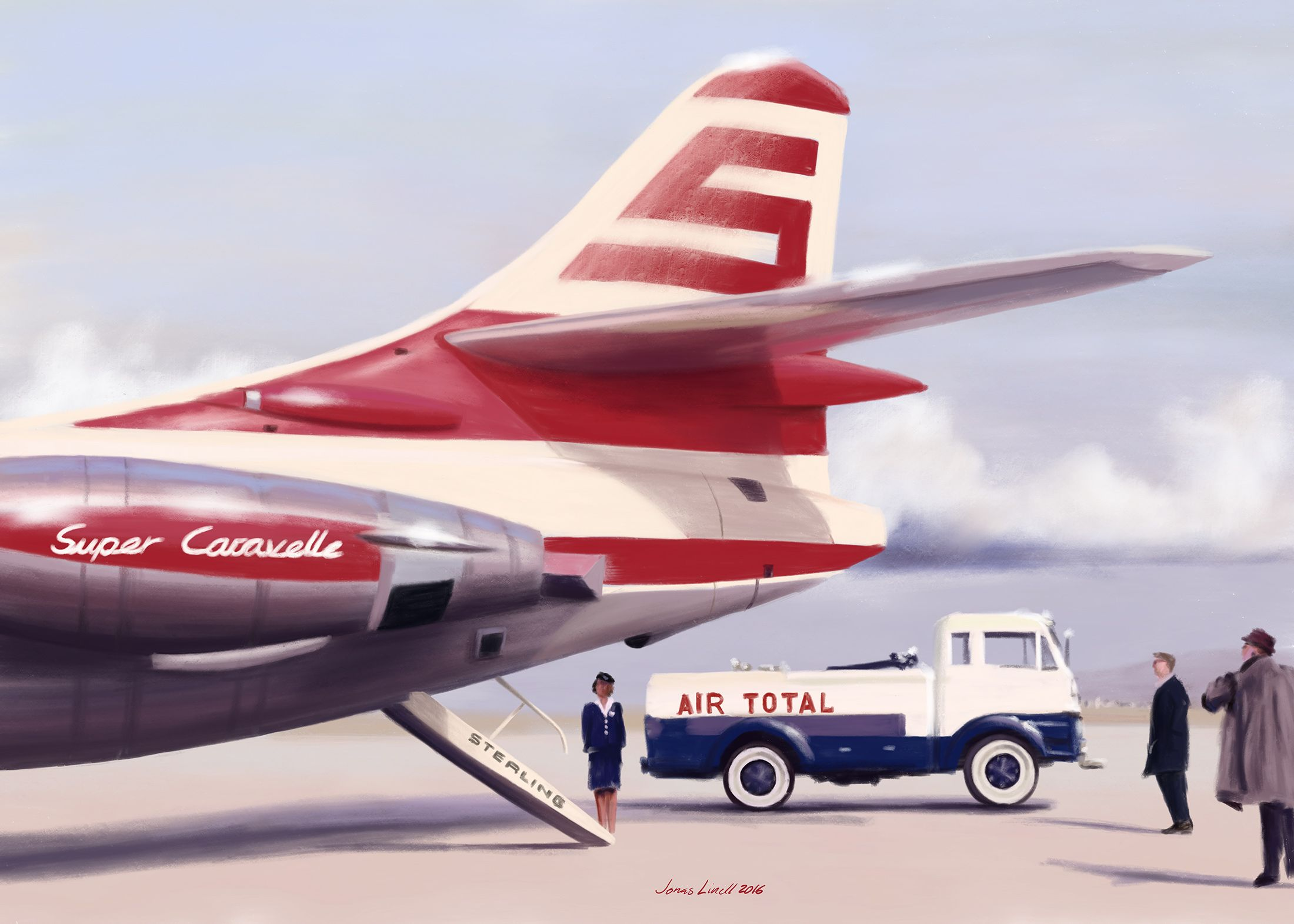 When air travel was great. Sterling AIrways Super Caravelle sometime in the 1960s. Painting by Jonas Linell 2016.