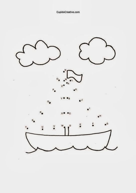 Belajar Huruf Anak Tk Balita Alfabet Dot To Dot Mewarnai Perahu